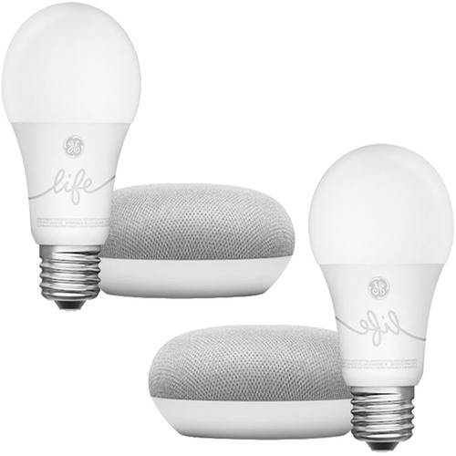 Google Home Mini Smart Light Starter 2-Pack Kit (Chalk) (GA00518-US)