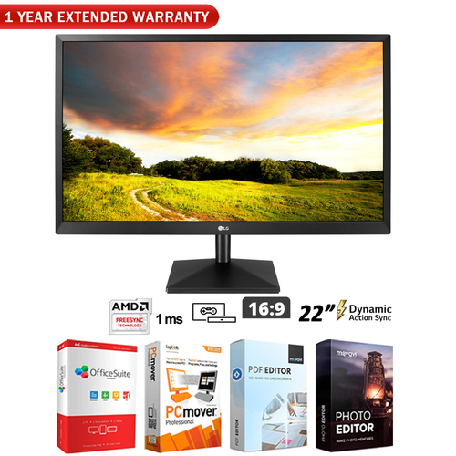 LG 22` Class Full HD TN Monitor with AMD FreeSync + Extended Warranty Pack