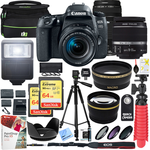 Canon EOS 77D DSLR Camera w/ EF-S 18-55mm & EF 75-300mm Lens + 128GB Kit