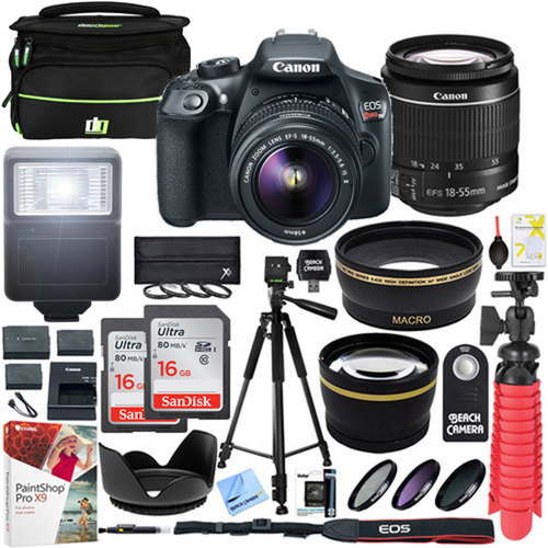 Canon T6 EOS Rebel DSLR Camera EF-S 18-55mm f/3.5-5.6 IS II Lens 32GB Memory Bundle