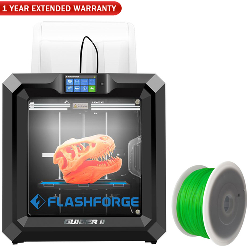 Flashforge Guider II 3D Printer w/1.75 MM PLA Filament (Green) and Extended Warranty