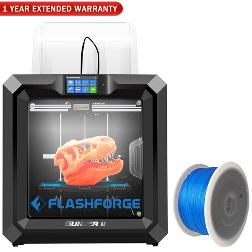 Flashforge Guider II 3D Printer w/1.75 MM PLA Filament (Blue) and Extended Warranty