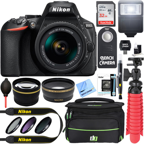 Nikon D5600 24.2MP DX-Format DSLR Camera w/ AF-P 18-55mm VR Lens Memory & Flash Bundle