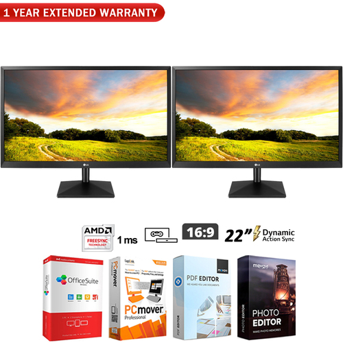 LG Dual 22` Class Full HD TN Monitor with AMD FreeSync + Extended Warranty Pack