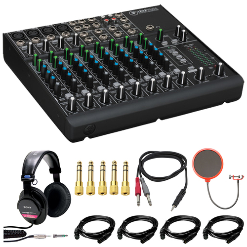 Mackie 1202VLZ4 12-Channel Compact Mixer with Sony MDR-V6 Headphone Bundle