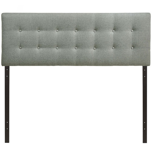 Modway Emily Queen Upholstered Fabric Headboard in Gray