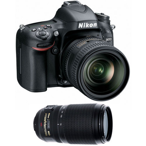 Nikon D610 FX-format 24.3 MP 1080p video Digital SLR Camera with 24-85mm and 70-300mm