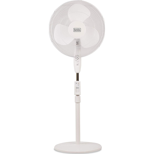 Black & Decker 16` stand fan w/ remote white