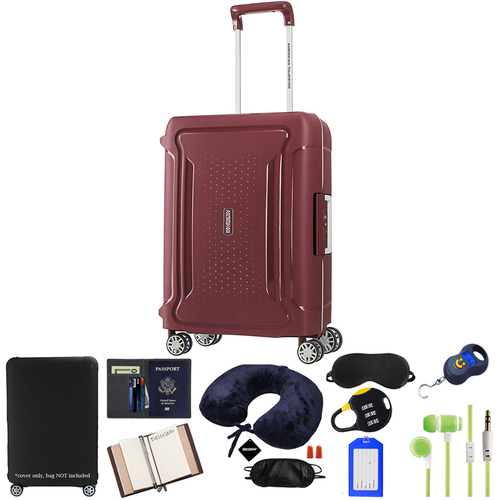 American Tourister 20` Tribus Hardside Spinner Luggage, Red w/ 10pc Accessory Kit