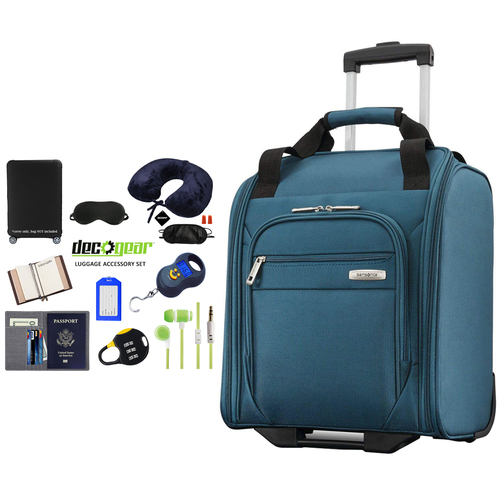 Samsonite Advena Underseat Carry On Luggage with Wheels Teal + Accessory Kit