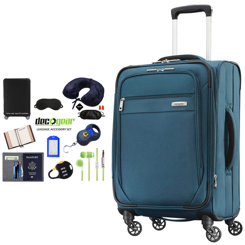 Samsonite Advena Expandable Softside Carry On Luggage 20` Teal + Accessory Kit