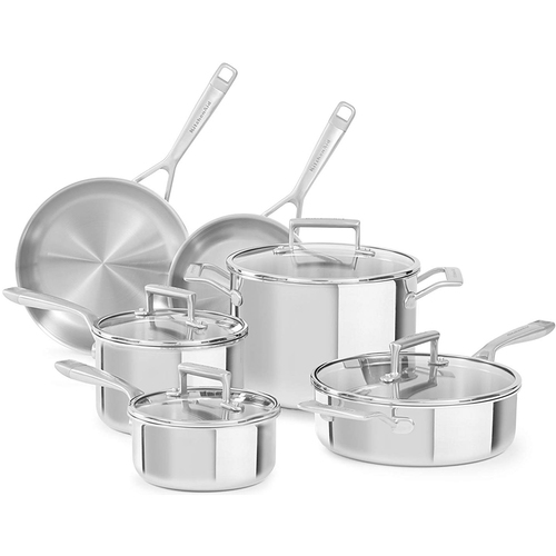 KitchenAid 10 Pc Cookware Tri Ply SS