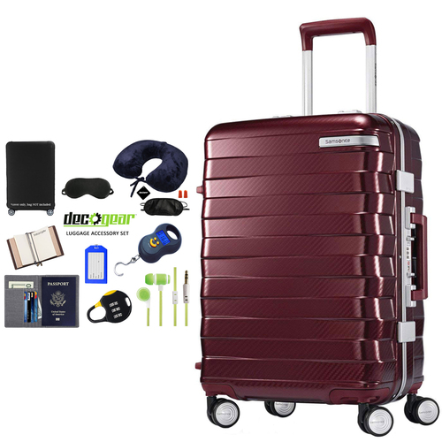 Samsonite Framelock Hardside Luggage with Wheels 20` Cordovan + Accessory Kit
