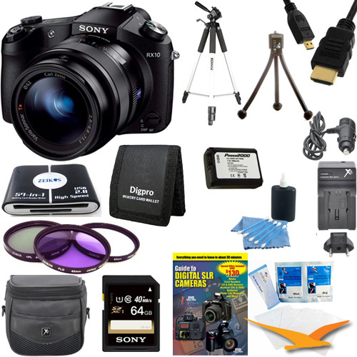 Sony Cyber-shot DSC-RX10 Digital Camera 64 GB SDXC Card, Battery, and Tripod Bundle