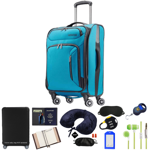 American Tourister 21` Zoom Spinner Luggage, Teal Blue w/ 10pc Luggage Accessory Kit