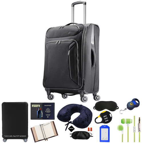 American Tourister 25` Zoom Spinner Luggage, Black w/ 10pc Luggage Accessory Kit