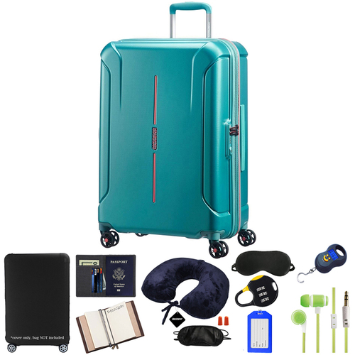 American Tourister 24` Technum Hardside Spinner Luggage, Jade Green w/ 10pc Luggage Accessory Kit