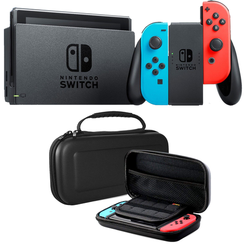 Nintendo Switch Neon Blue and Red Joy Con with Hard Shell Carry Case Bundle - E2HACSKABAA