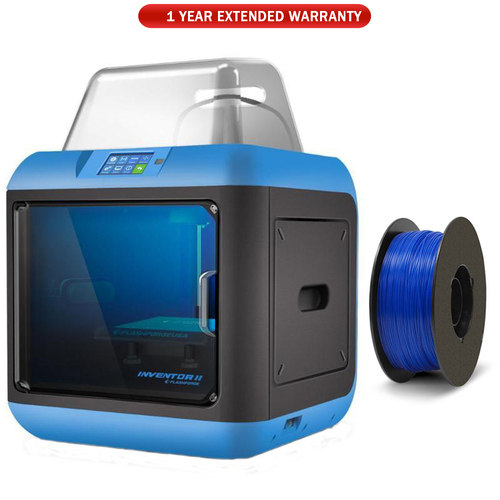 Flashforge Inventor II 3D Printer with Extended Warranty and Blue PLA Filament