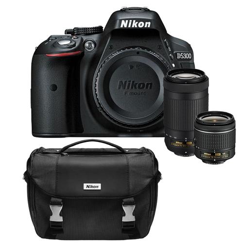 D5300 24 2 MP DSLR Camera w/AF-P 18-55mm VR&70-300mm Dual Lens&Case Bundle