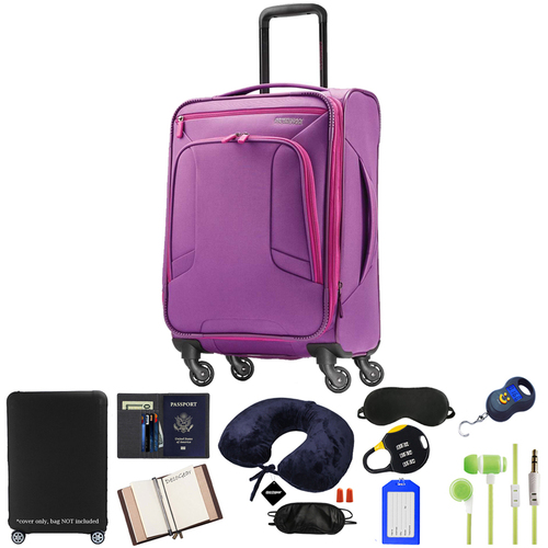 American Tourister 4 Kix Spinner 21 (Purple/Pink) w/ 10pc Accessory Kit