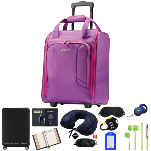 American Tourister 4 Kix Rolling Travel Tote - Purple/Pink w/ 10pc Luggage Accessory Kit