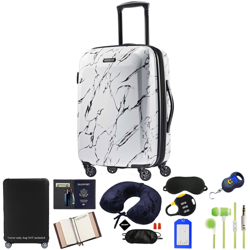 American Tourister 24` Moonlight Hardside (ABS) Spinner-Marble w/ 10pc Luggage Accessory Kit