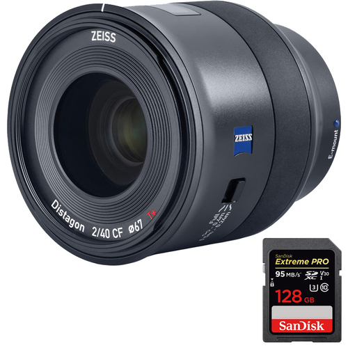 Zeiss Batis 40mm f/2 CF Lens for Sony Full Frame E-mount + Sandisk 128GB Card
