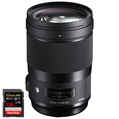 Sigma 40mm f/1.4 DG HSM Art Lens for Canon EF (332956) with 128GB Memory Card