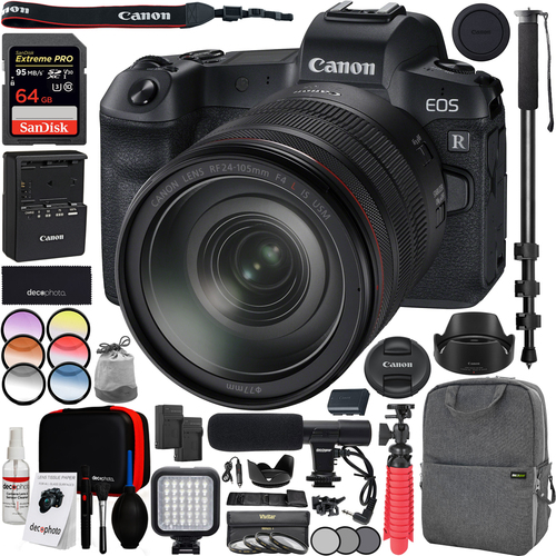 Canon EOS R FF Mirrorless Camera (3075C012) with RF 24-105mm F4 L IS USM Lens Bundle