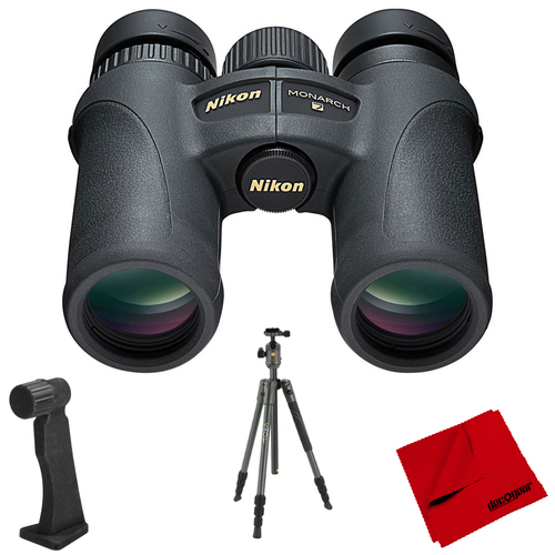 Nikon Monarch 7 10x42 Water/Fog Proof Binoculars + Aluminum Travel Tripod Bundle