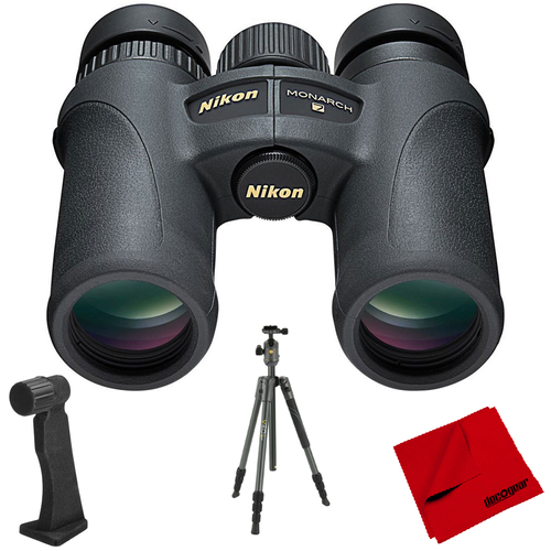 Nikon Monarch 7 8x30 Water/Fog Proof Binoculars + Aluminum Travel Tripod Bundle
