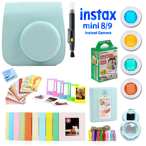 Deco Gear Accessories Bundle for Fujifilm Instax Mini 8/9 with Twin Pack Film (10 Shots)