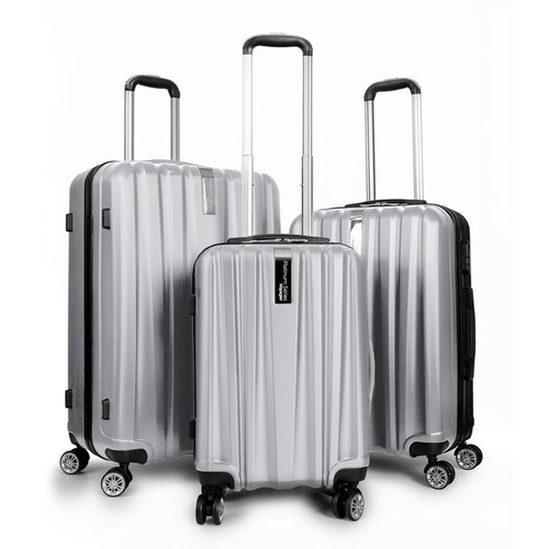 Travel Elite Series - 3 Piece Hardside Spinner Luggage Set (Silver)(20