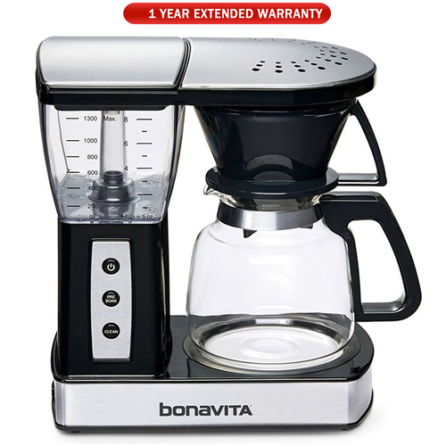 Bonavita 8-Cup Glass Carafe Coffee Brewer with Warming Plate + Extended Warranty