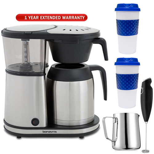 Bonavita Connoisseur 8-Cup One-Touch Coffee Brewer with Warranty Bundle
