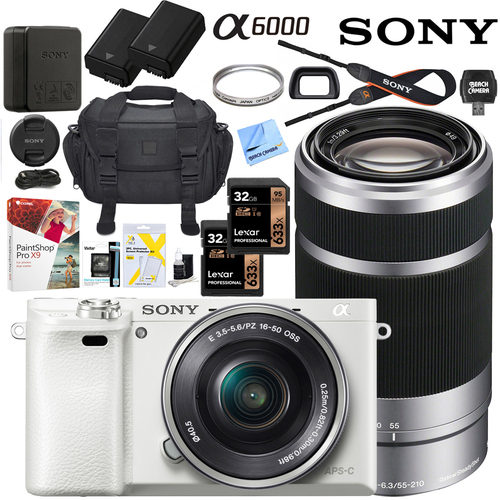 Sony Alpha a6000 Mirrorless Digital Camera 16-50mm & 55-210mm Lens Pro Bundle White