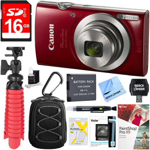 Canon PowerShot ELPH 180 8x Optical Zoom Digital Camera (Red) + 16GB Accessory Kit