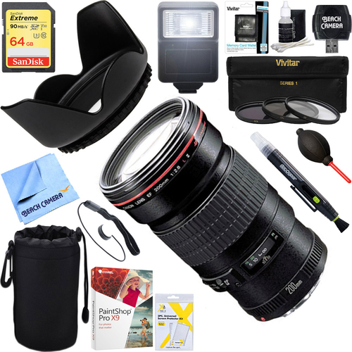 Canon EF 200mm f/2.8L II USM 2529A004 + 64GB Ultimate Kit