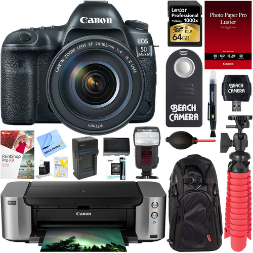 Canon EOS 5D Mark IV DSLR Camera w/ 24-105mm IS II USM Lens + PIXMA PRO Printer Bundle