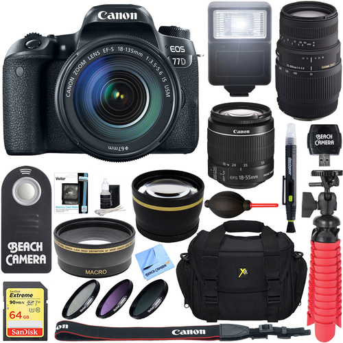 Canon EOS 77D 24.2 MP DSLR Camera + EF-S 18-135mm IS USM & 70-300mm Lens Accessory Kit