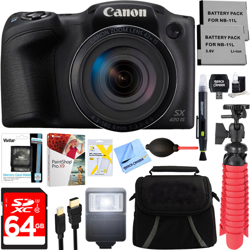 Canon PowerShot SX420 IS 20MP Digital Camera (Black) + Spare Battery & Accessory Kit