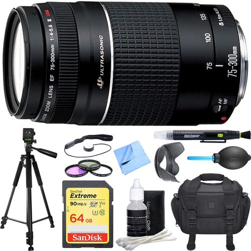 Canon EF 75-300mm  F4-5.6 III Lens Deluxe Accessory Bundle