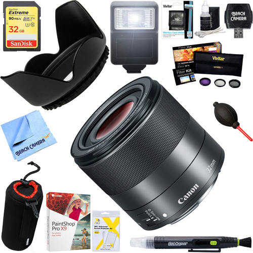 Canon EF-M 32mm f 1.4 STM Lens (2439C002) with 32 GB Ultimate Kit