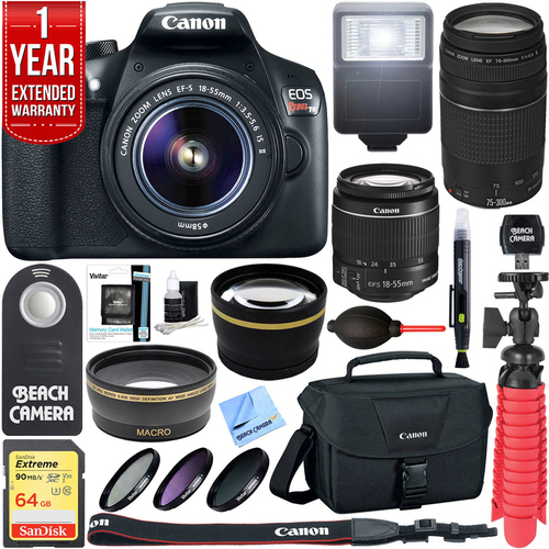 Canon EOS Rebel T6 DSLR Camera w/ EF-S 18-55mm + 75-300mm IS II Lens 64GB Memory Kit
