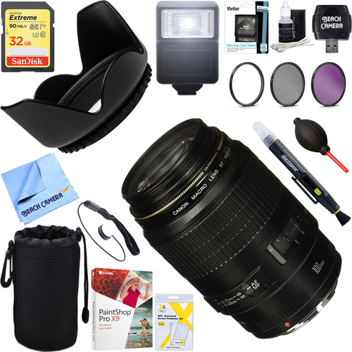 Canon EF 100mm f/2.8Macro USM Fixed Lens for SLR Cameras+32GB Ultimate Bundle