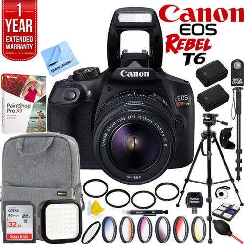 Canon EOS Rebel T6 DSLR Camera w/ EF-S 18-55mm Lens + 32GB Accessory Pro Bundle