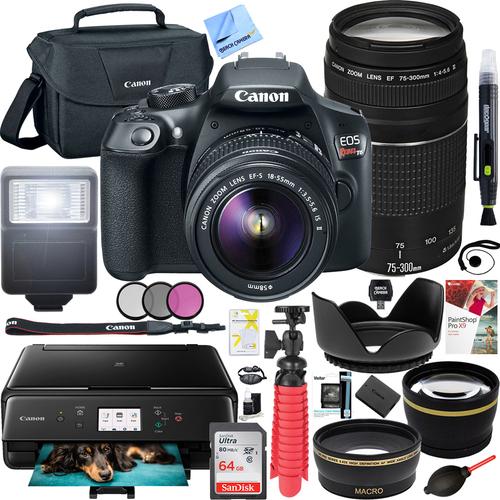 EOS Rebel T6 DSLR Camera 18-55mm IS + 75-300mm Lenses + WiFi Printer Bundle