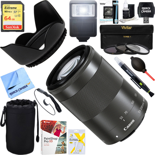 Canon EF-M 55-200mm f/4.5-6.3 IS STM Lens + 64GB Ultimate Kit