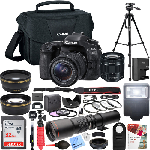 Canon EOS 80D Digital SLR Camera with EF-S 18-55mm f/3.5-5.6 Zoom Lens Pro Kit
